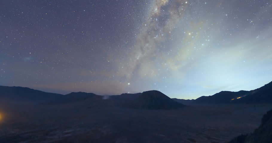 Mount Bromo misty night Milkyway time-lapse video clip, Indonesia