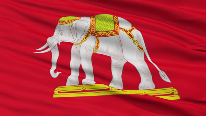 State Thailand 1916 Flag, Closeup View Realistic Animation Seamless Loop - 10 Seconds Long