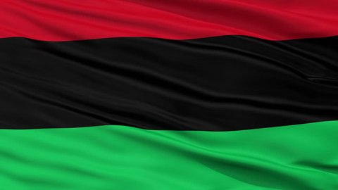 Panafrican Unia Afro American Black Liberation Flag, Closeup View Realistic Animation Seamless Loop - 10 Seconds Long