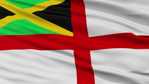 Naval Ensign Of Jamaica Flag, Closeup View Realistic Animation Seamless Loop - 10 Seconds Long