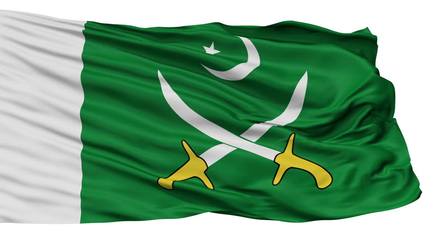 The Pakistani Army Flag, Isolated View Realistic Animation Seamless Loop - 10 Seconds Long