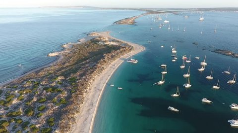 Formentera San Espalmador drone tour with sunset
