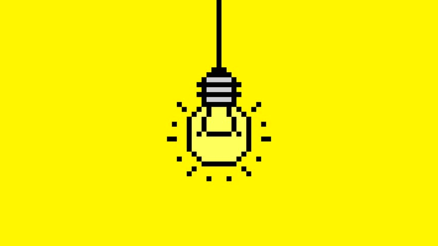Pixel Art Light Bulb Turning On and Turning Off. Loopable Retro 4K Motion Design Animation Idea Concept Background.