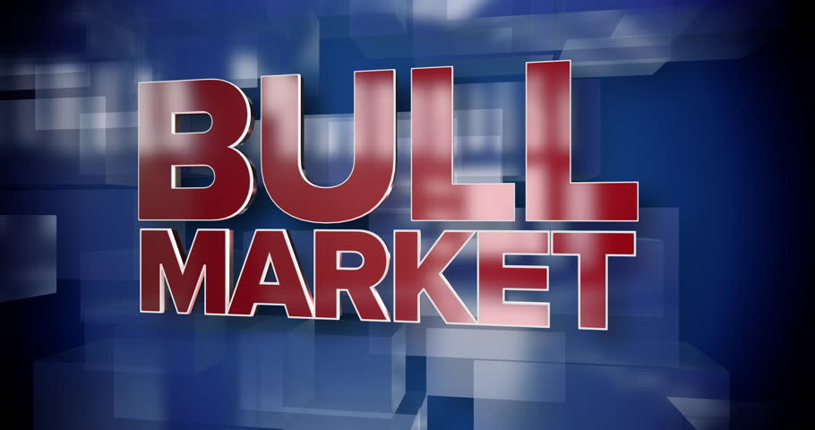 A red and blue dynamic 3D Bull Market title page background animation.  	 | Shutterstock HD Video #1015168591