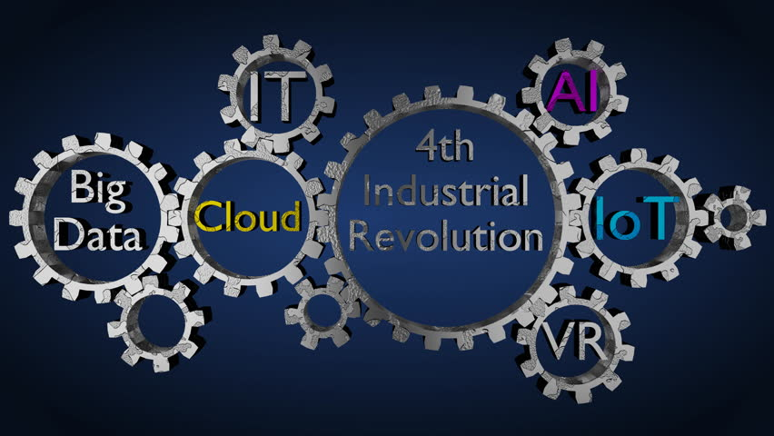Gears with keyword,Automation, IT Solution,Virtual reality, Artificial Intelligence, Internet of things, Big Data, Cloud, '4th Industrial Revolution', 3D rendered, multicolor variant, UHD.