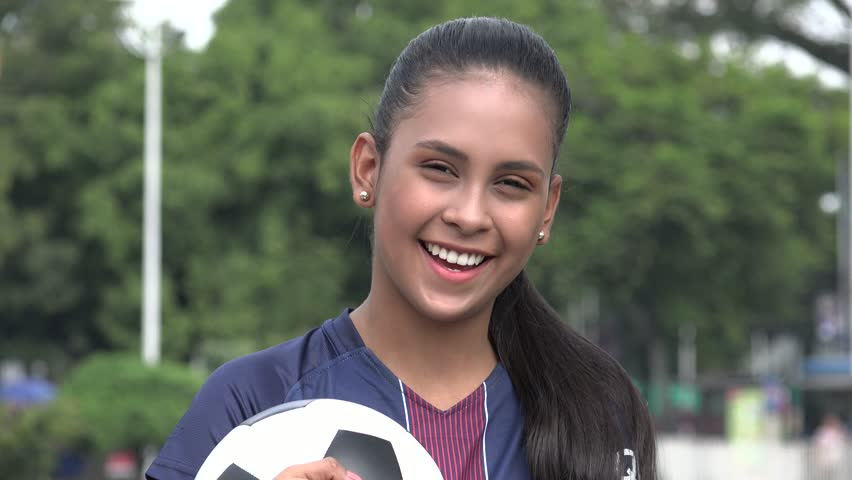 Happy Hispanic Teen Girl Soccer Athlete | Shutterstock HD Video #1015195501