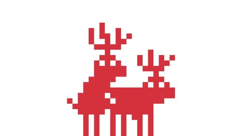 Two Deers Makes Love in Pixel Art Retro Game Style. 4K Funny Christmas Animation Background.