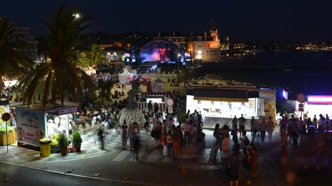 Cascais, Portugal, August 19, 2018: Time lapse of crowd at Festas do Mar Music Festival festival, featuring famous national and international musicians