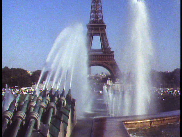 PARIS, FRANCE, 1988, The Eiffel Tower, Trocadero fountain in foreground