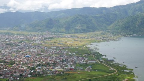City Near The Edge of The Lake View From Above. Located in Takengon, Aceh, Indonesia