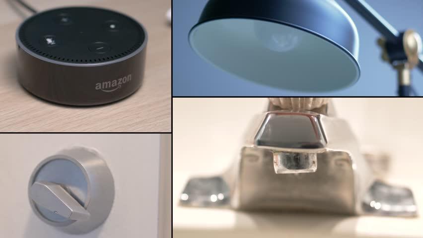 MONTREAL, CANADA - August 2018 : Video montage of Amazon Echo Alexa dot controlling different aspect of a house such as : lights, door lock, garage door opener, temperature, water..