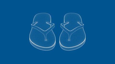 3D wire-frame model of flip flops on blue background