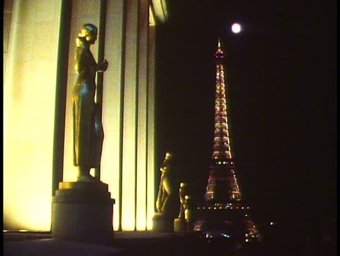 PARIS, FRANCE, 1988, Paris by night, Eiffel Tower, still, side shot with statues