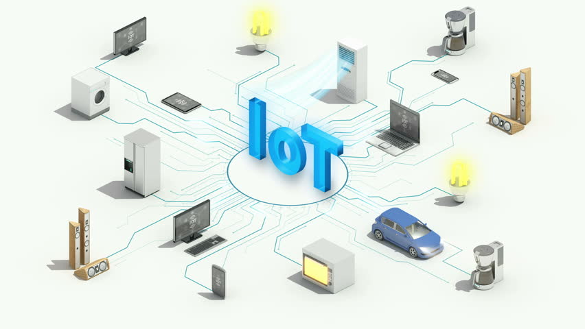 'IoT' technology connecting Smart home appliances automation technology,  Internet of things, 4k animation. #1015323991