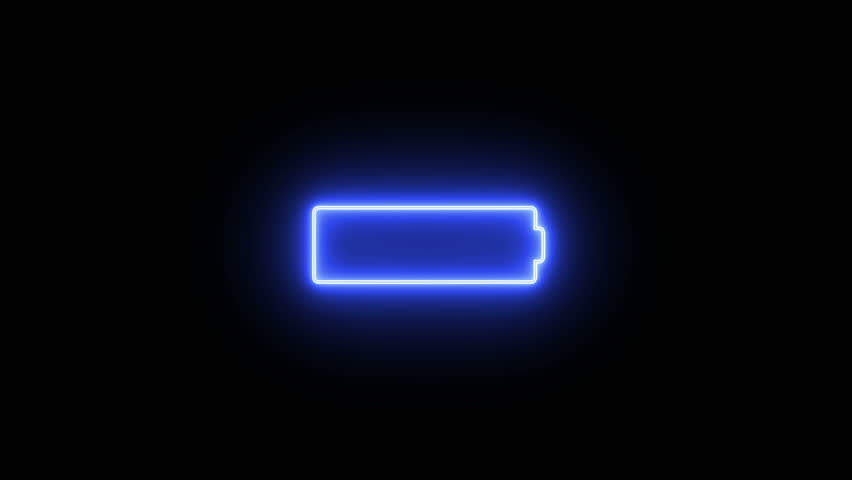Graphic neon sign showing that battery of device is out of charge on the black screen background.