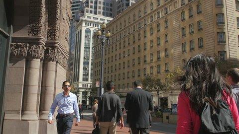San Francisco, United States - July, 2016: People walking near Ritz-Carlton Club and Residences on Market Street, San Francisco.