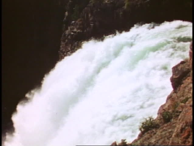 YELLOWSTONE NATIONAL PARK, WYOMING, 1978, Upper Falls, waterfall, close up edge