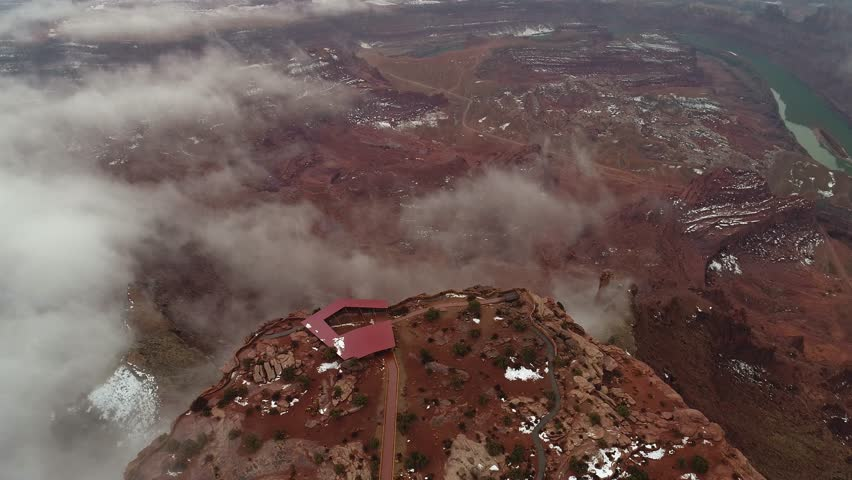 Aerial view flying over the point of Dead Horse Point State Park in Utah