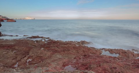 4K UHD sunset time lapse from the mediterranean sea in Peñiscola, Castellon, Valencia Community, Spain