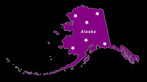 Alaska as purple state election map.  Animated. Alpha Chan/Transparent. Time compresses nicely.