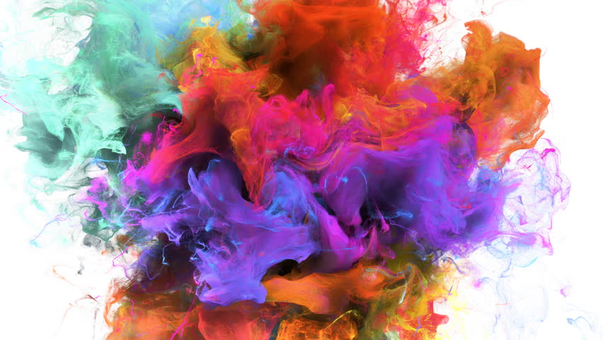 Color Burst - colorful orange cyan magenta pink yellow smoke explosion fluid gas ink particles slow motion alpha matte isolated on white | Shutterstock HD Video #1015471741