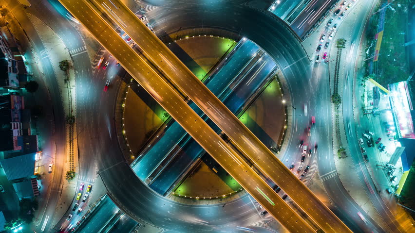 4K Time lapse or Hyper lapse : Aerial view highway road intersection for transportation or distribution concept. #1015491841