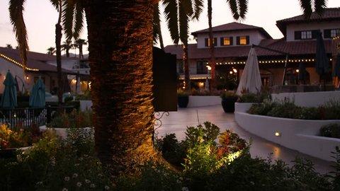 Tiki Torch Reveal shot at Palm Springs Resort 4K 60p