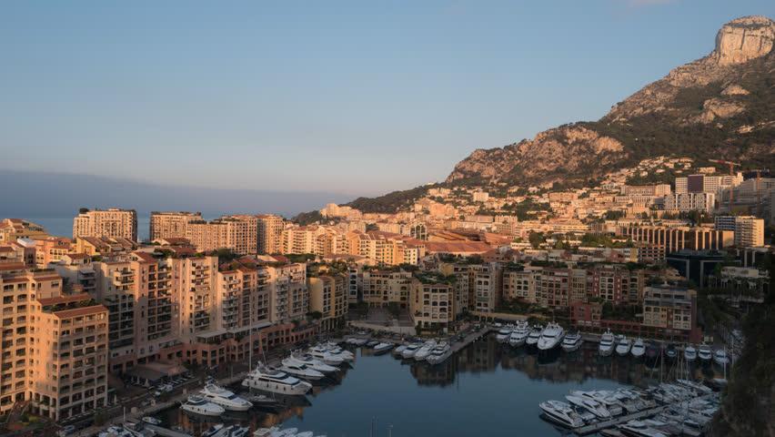 Monte Carlo Monaco time lapse 4K, city skyline timelapse at Ville port