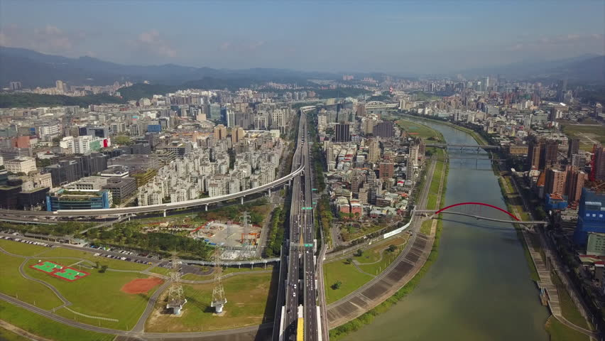 Taipei cityscape sunny day traffic riverside aerial panorama 4k taiwan | Shutterstock HD Video #1015560661