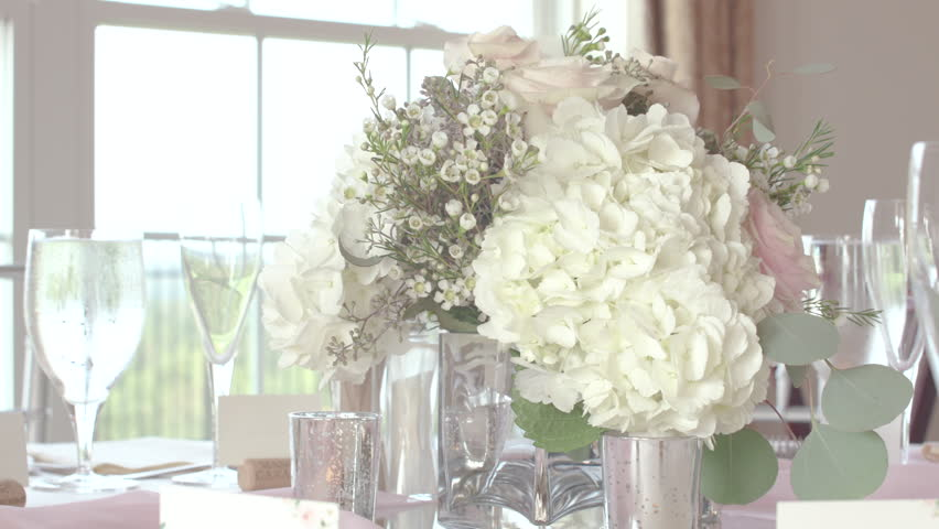 Elegant Wedding Floral Arrangement Centerpiece at Reception