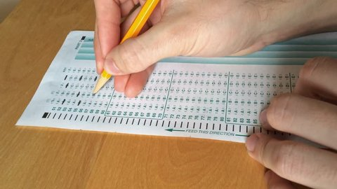 Frustration of a student taking a standardized test