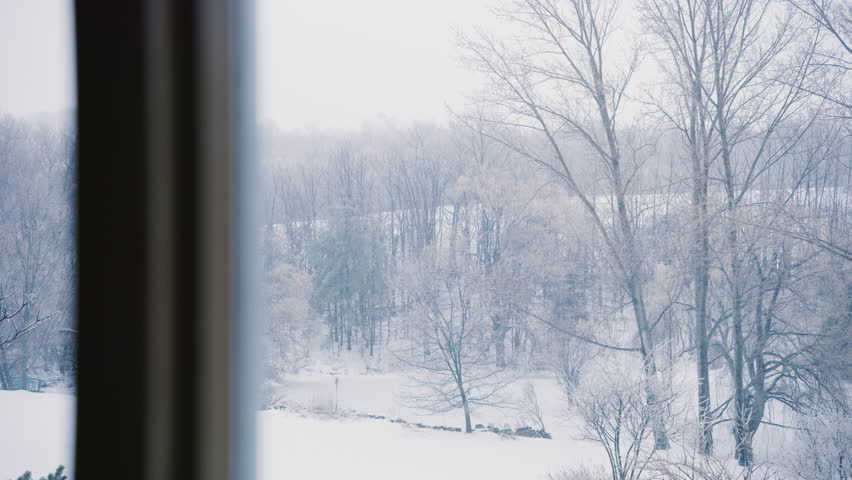 Pan of a snowy landscape in the winter from a window during the daytime. Wide shot. Shot with a RED camera. 4k footage.