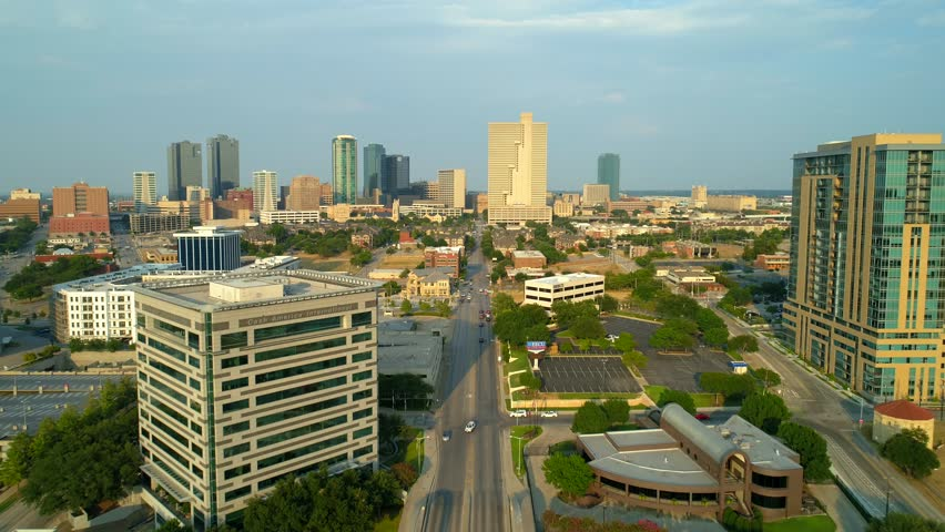 FORT WORTH, TEXAS, USA - AUGUST 1, 2018: Drone video Downtown Fort Worth Texas