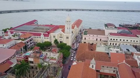 Aerial view of the historic city center of Panama