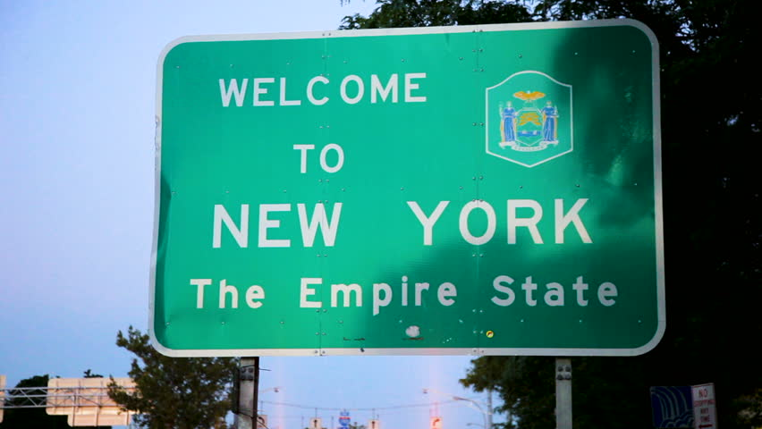 Close up of a New York state welcome sign | Shutterstock HD Video #1015675771