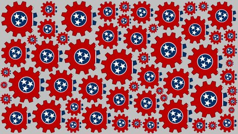 Tennessee flag gears rotating background