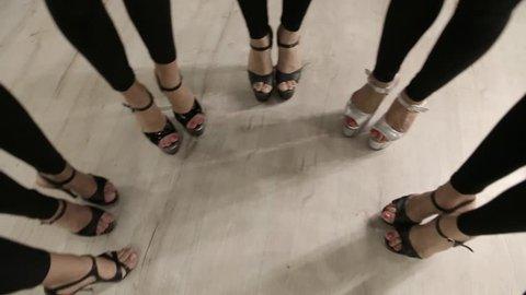 Beautiful sexy female long legs in heels, school models