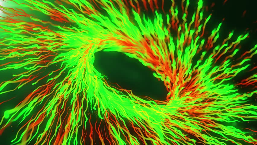 Green and red motion graphics with colored spiral and spheres, abstract color wormhole tunnel, background with rotation of lines and particles. 2d/3d animation. Growing bunch of optical fibers