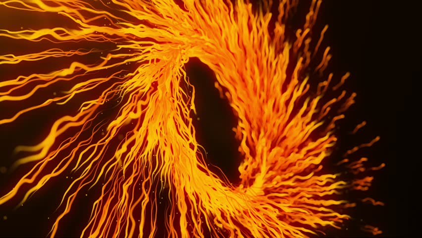 Orange motion graphics with colored spiral and spheres, abstract color wormhole tunnel, background with rotation of lines and particles. 2d/3d animation. Growing bunch of optical fibers