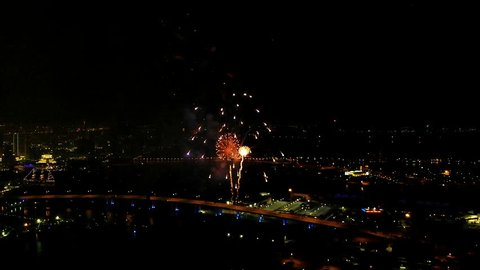 Miami, FL / United States - 07 15 2018: 4th of July Fireworks from a Drone point of view.
