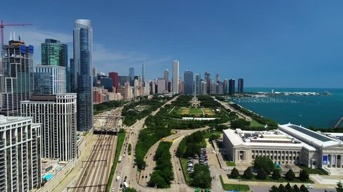 Chicago, IL / United States - August 20, 2018.  This video reveals gorgeous waterfront views of downtown Chicago's skyline.