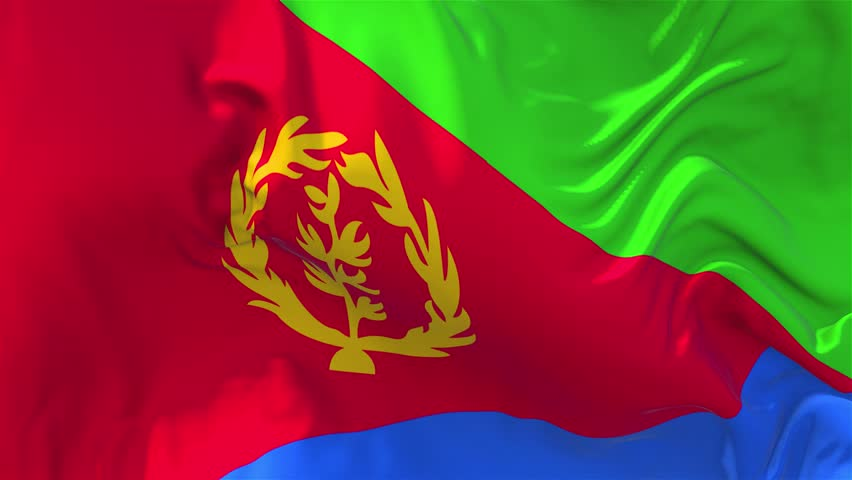 77. Eritrea Flag Waving in Wind Slow Motion Animation . 4K Realistic Fabric Texture Flag Smooth Blowing on a windy day Continuous Seamless Loop Background.