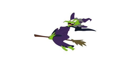 A frightening witch on a broomstick is flying and laughing.
