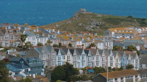 St Ives Cornwall - aerial view over the beautiful city at the Cornish Coast