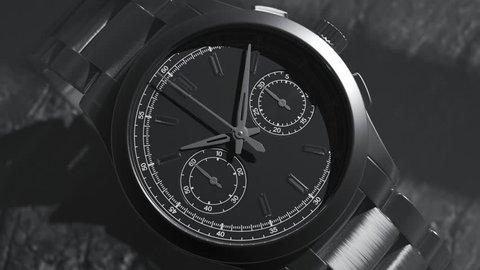 Close up shot of luxury watch. Beautiful stainless steel mechanical clock.