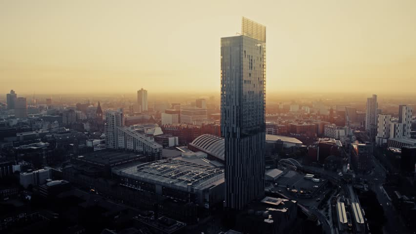 Aerial View of Manchester, United Kingdom | Shutterstock HD Video #1015907131