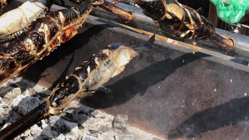 Fish is smoked on hot smoke in a smokehouse | Shutterstock HD Video #1015914331