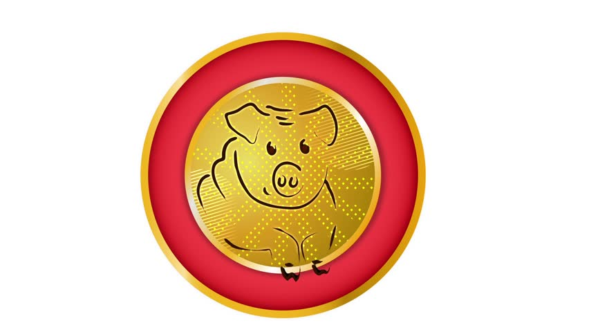 2019, New Year,pig , symbol of the year, emblem of New Year 2019, season animation, 2018 - 2019, chinese zodiac pig,alpha channel, transparent background, green background