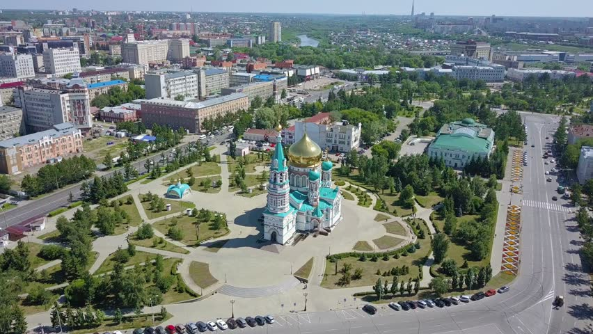 The Cathedral of the Assumption of the Blessed Virgin Mary, panoramic views of the city. Omsk, Russia, From Dron, Point of interest