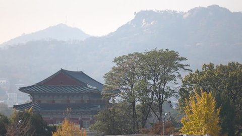 Traditional Korean style architecture view from Bukchon Hanok Village in Seoul City, South Korea